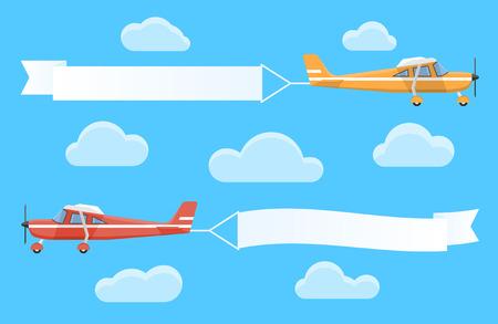 Vliegende reclame banners getrokken door lichte vliegtuigen Stock Illustratie