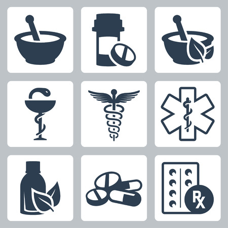 Pharmacy, medicine vector icon set Vettoriali