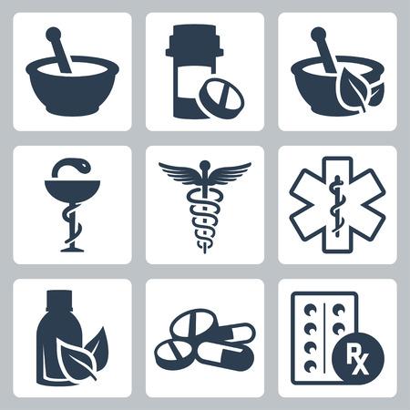 Pharmacy, medicine vector icon set Illustration