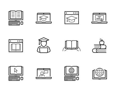 taught: Online education and web-based training icon set