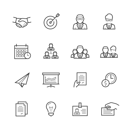Business people vector icon set in thin line style