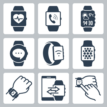 smart phone hand: Vector icon set of smart watches Illustration