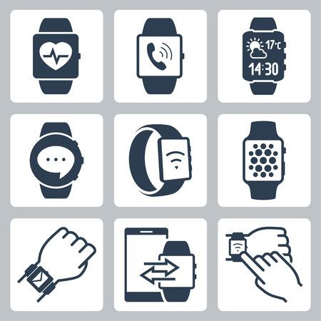 fitness: Vector icona serie di orologi intelligenti Vettoriali