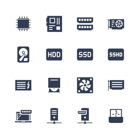 Electrónica y gadgets de conjunto de iconos: procesador, placa base, memoria RAM, tarjeta de vídeo, disco duro, ssd, sshd, unidad de potencia, cd-rom, enfriador, servidor, adaptador