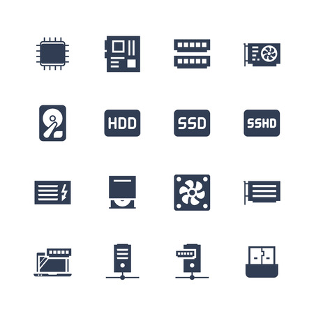 Electronics and gadgets icon set: processor, motherboard, RAM, video card, hdd, ssd, sshd, power unit, cd-rom, cooler, server, adapter
