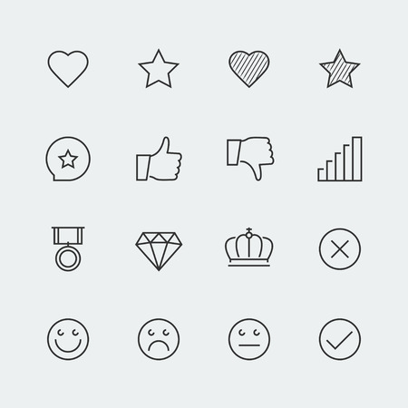 line up: Icon set of social media labels for rating