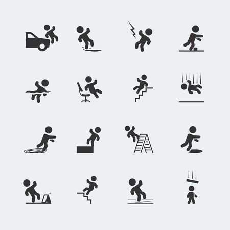 hombre cayendose: Signos que muestran un hombre figura de palo y varias formas de viajes, resbalones, caídas y Vectores