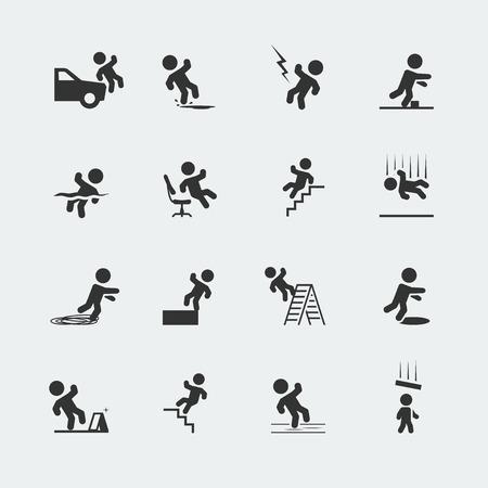 Znaki pokazujące mężczyznę stick rysunek i różne formy wyjazdów, zrazy, i upadki