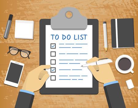 """Flat 'para hacer la lista """"concepto - las manos sobre el portapapeles en la parte superior del escritorio de madera Ilustración de vector"""