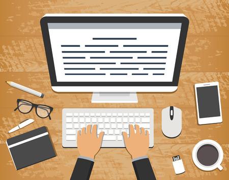 Ilustración de vector de diseño plano del lugar de trabajo. Vista superior del escritorio de madera con una computadora y escribiendo las manos sobre un teclado y objetos de oficina alrededor