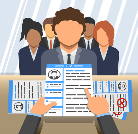 An Illustration of curriculum vitae in hands of an employer and candidates behind a desk Illusztráció