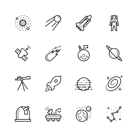astronautics: Space and cosmos icon set in outline style Illustration