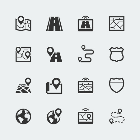 Simple set of route, road related vector icons