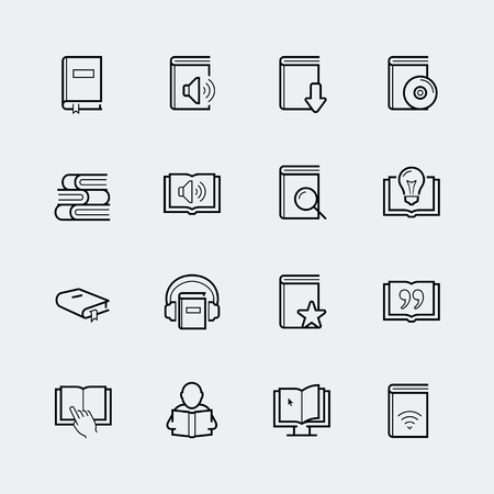 earbud: Reading related vector icon set in thin line style