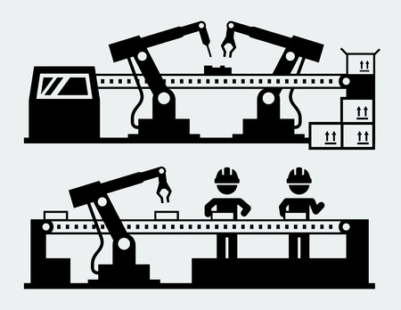 ensamblaje: Línea de producción - los robots de fabricación Vectores