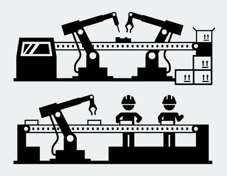 Production line - manufacturing robots Illustration
