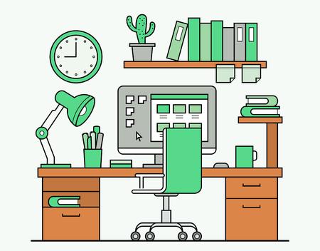 espacio de trabajo: Dise�o de l�nea delgada de espacio de trabajo con la computadora de escritorio y escritorio