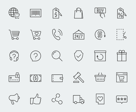 E-commerce and online shopping related vector icon set