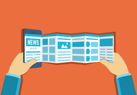 Vector illustratie van online Nieuws lezen of surfen op het web met behulp van smartphone