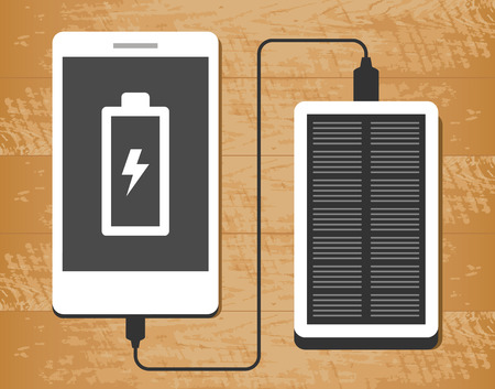 electronic tablet: Vector illustration of solar power bank charging a smartphone on wooden desk