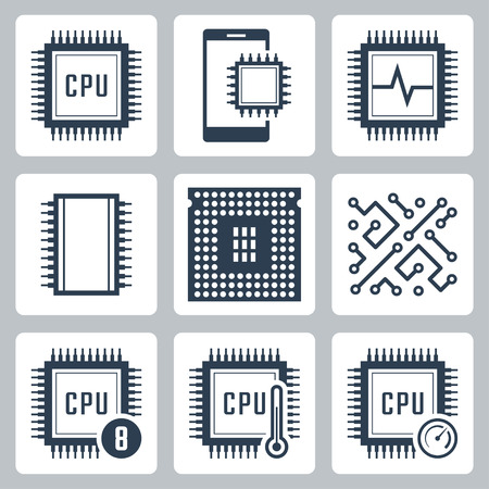 chip set: CPU and electronic chip vector icon set
