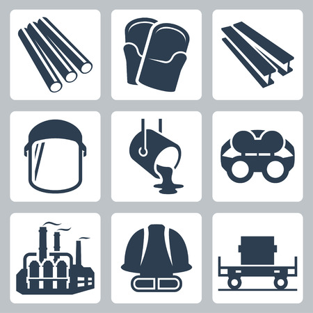 casts: Metallurgy related vector icon set
