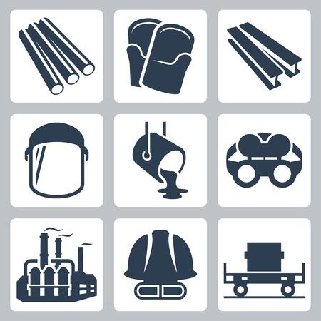 ferrous metals: Metallurgy related vector icon set