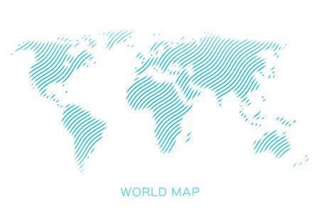 World map of blue waves on white background Illustration