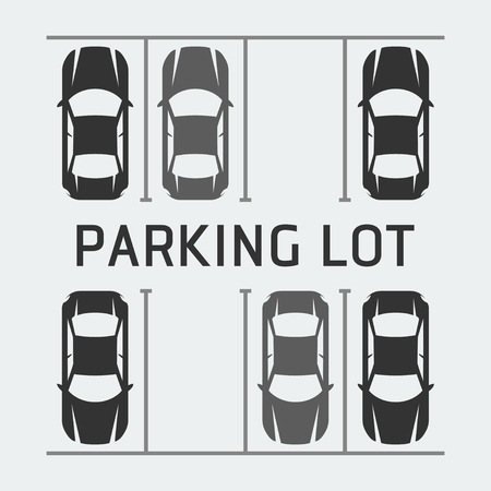 a lot: Vector illustration of parking lot - top view