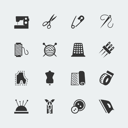 Vector sewing equipment and needlework icon set Vectores