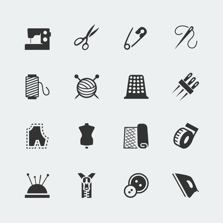 maquinas de coser: Vector equipo de costura y costura conjunto de iconos Vectores