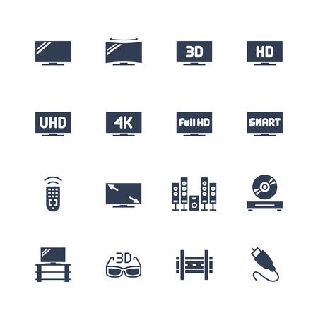 TV et de l'équipement de télévision vecteur icône ensemble