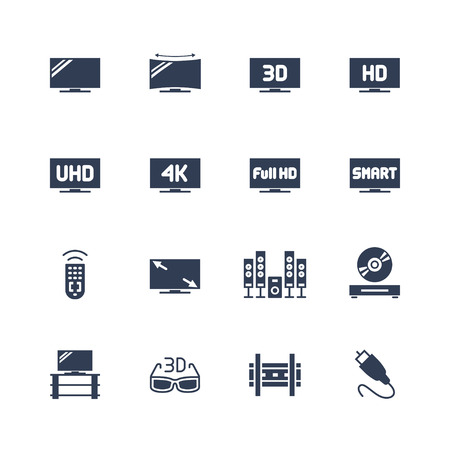 TV and televison equipment vector icon set