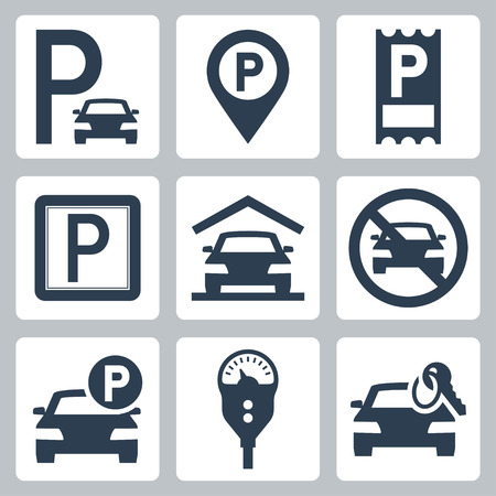 a lot: Parking related vector icon set