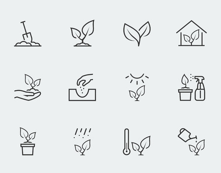 plant hand: Plant related vector icon set in outline style