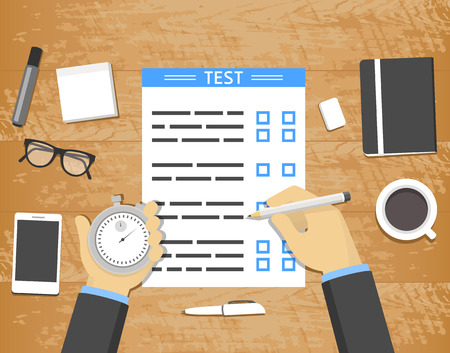 pencil and paper: Self-assessment concept - hands holding stopwatch and pencil over test blank on wooden desk with office objects around, flat design illustration