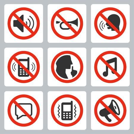 Vector icon set of keep silence symbols