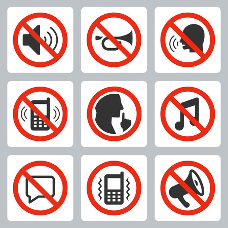 silence: Vector icon set of keep silence symbols