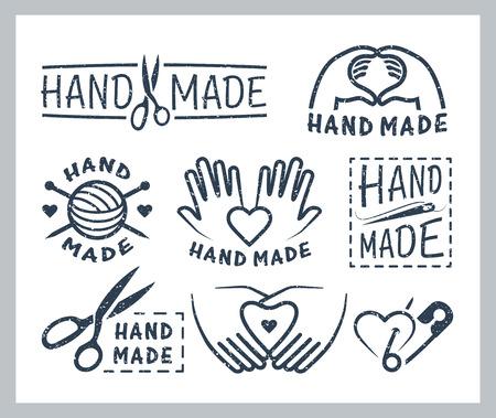 coser: Conjunto de insignias hechas a mano, etiquetas, iconos y elementos del logotipo Vectores