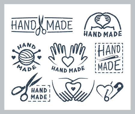Set of handmade badges, labels, icons and logo elements Çizim