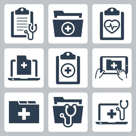 건강: 환자의 의료 기록의 벡터 아이콘 세트