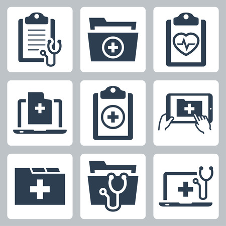 doctor of medicine: Vector icon set of patient medical record