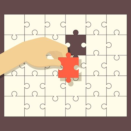 missing link: Person fitting the last puzzle piece - concept vector illustration Illustration