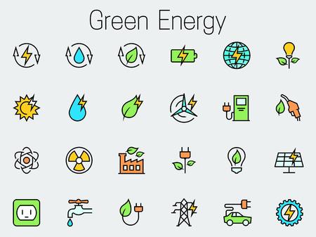 medio ambiente: Energ�a verde relacionados icono de conjunto de vectores