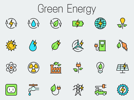 eco power: Green energy related vector icon set