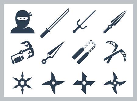 samourai: Ninja et des armes de ninja vecteur, ic�ne, ensemble
