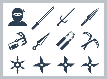 Ninja and ninja weapons vector icon set Illustration