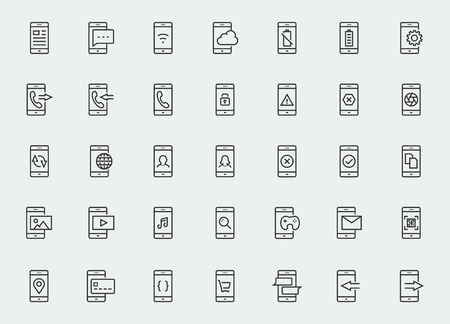 girl at phone: Smart-phone functions and apps vector icon set in outline style