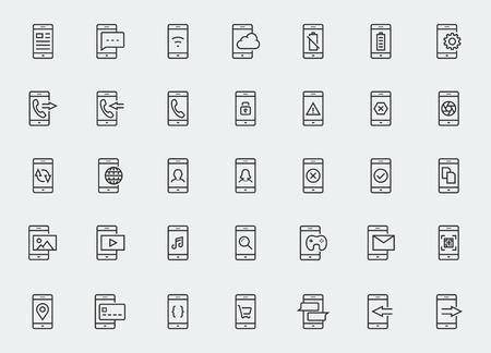contorno: Smart-teléfono icono de funciones y aplicaciones conjunto de vectores en el estilo de esquema Vectores