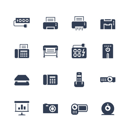 Electronics and gadgets icon set: surge suppressor, printer, shredder, multifunction device, fax, plotter, UPS, scanner, phone, projector, screen, photo camera, video camera, web camera Vectores